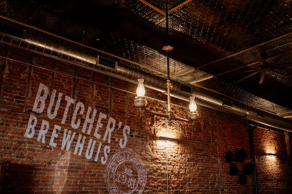 Butcher's Brewhuis logo ceiling tin