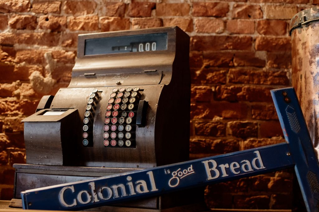 Colonial Bread, vintage cash register